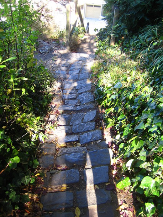 A garden path made of cobblestones. Image Credits: Flickr.com/spine