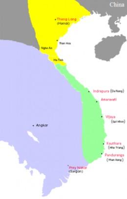 Location of Champa kingdom (color green)