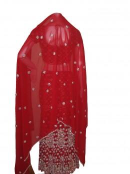 Dupatta Design of Red Wedding Ghagra Choli