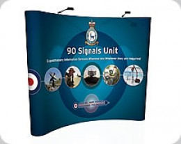 A pop up display system.  Pop up display stands with pop up graphics make an eyecatching display at any Exhibition.