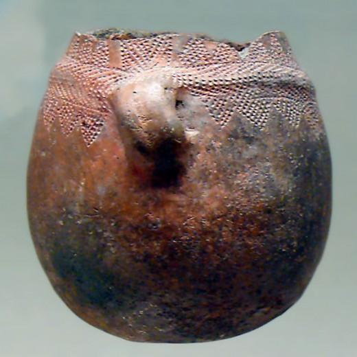 Close-up of a Bell Beaker Pot.