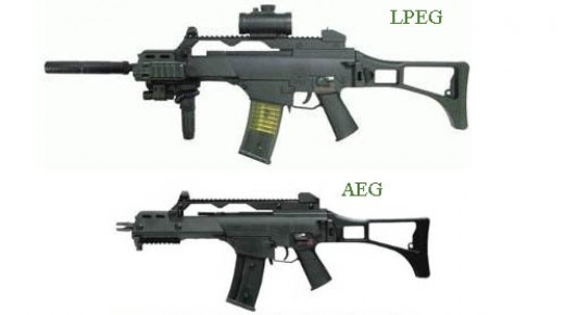 "The difference between these guns is rather subtle, yet calling the top one an ""AEG"" would make you seem like a noob"