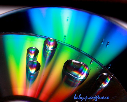 cd with water drops in rainbow colors