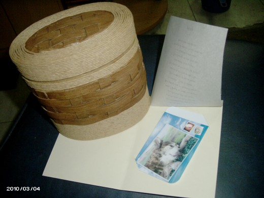 Pissy's Urn, with her Farewell Card for me