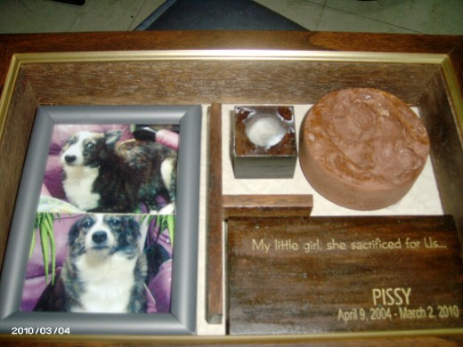 Pissy's memorabilia, included in her funeral package