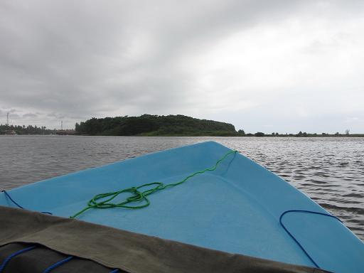 Taking a boat ride to the nearby island