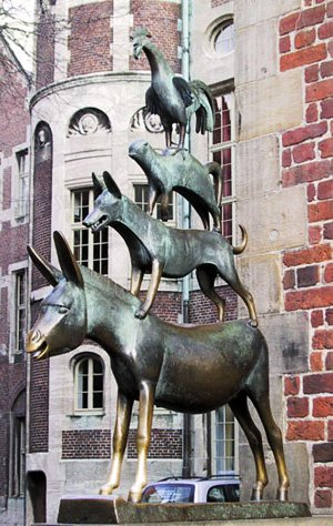 The statue of the famous Bremen musicians :). It is at a corner of the city hall. This image is the unofficial symbol of the city and you'll see them a lot.
