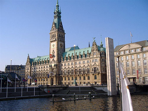 The city hall as seen from the Binnenalster lake.