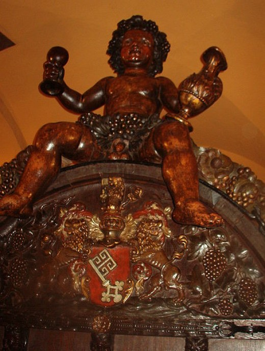 The Bacchus statue inside the Bremen Ratskeller.
