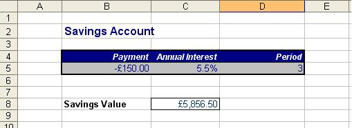 Savings information to be used in the FV function