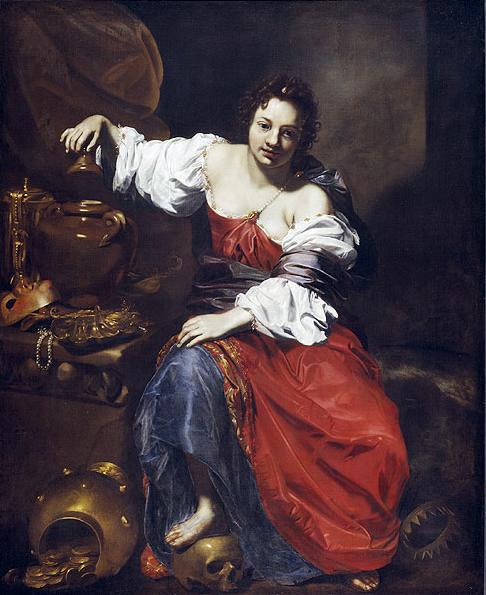 Nicolas Regnier, Allegory of Vanity, Pandora shows Pandora with two jars -one full of money, the other still closed, and a skull as in the style of the ealier Eva Prima Pandora, both are also the only two which depict a jar instead of the later box,