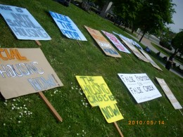 Here are some of the signs the protesters carried when they demonstrated against the loss of promised social housing.