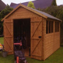 This is a nice medium sized wooden storage shed.