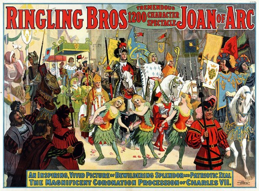 Circus poster of a typical parade for Ringling Bros. in 1912.