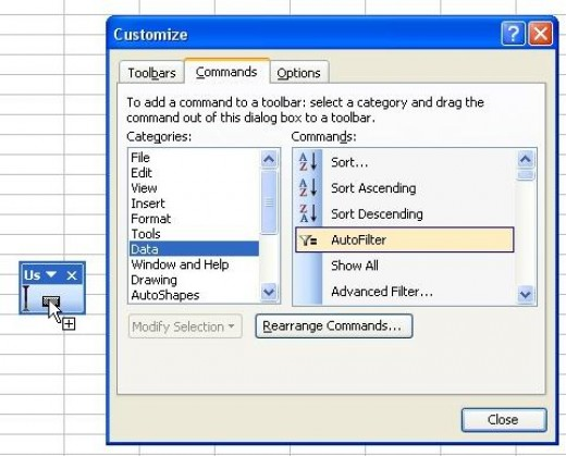 Dragging the AutoFilter button onto the toolbar