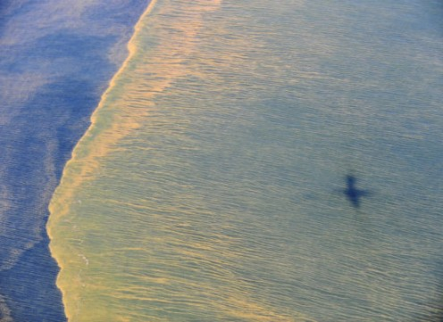 """This May 6 photo released by the U.S. Navy shows the oil from an aerial view."" From The Huffington Post."
