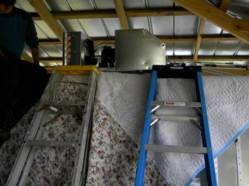 The new AC on the roof of the Airstream
