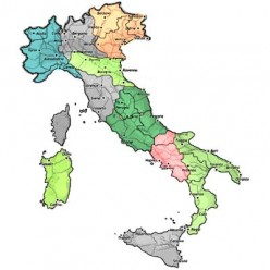 The 13 regions of Italy