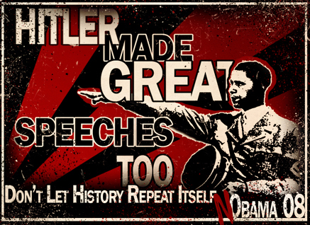 AMERICAN POSTER FROM 2009 EQUATES PRESIDENT OBAMA WITH ANOTHER SOCIALIST FROM HISTORY: ADOLPH HITLER OF GERMANY