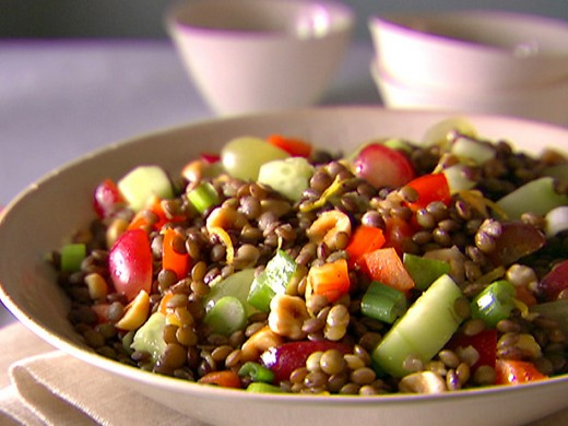 Summer vegetable lentils salad