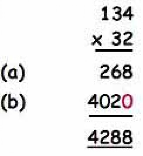"""An example of the """"traditional"""" method of long multiplication (see below)"""