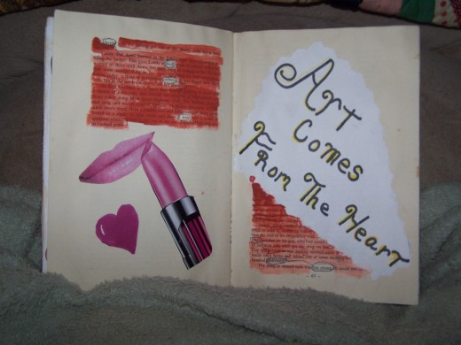 Magazine clippings are a great sourse for any collage work. I happen to love lipstick, and this represents that idea.