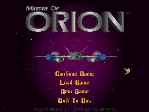 The title screen of this old classic. Notice the complete lack of a multiplayer function (something that would not get added to any of Microprose's games until the next installment of Master of Orion).