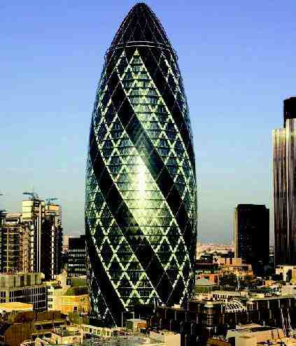 The 'Gherkin' or the Swiss Re Building, at No 30 St Mary Axe