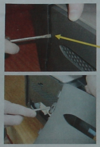 2:  Remove side access panel. Lever it out with a screwdriver.