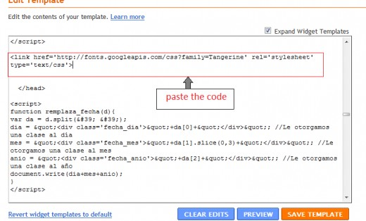 paste the code in blogger