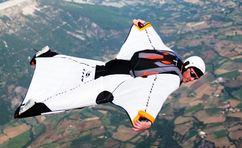 This style of gliding suit is typical of today's human gliding suit.