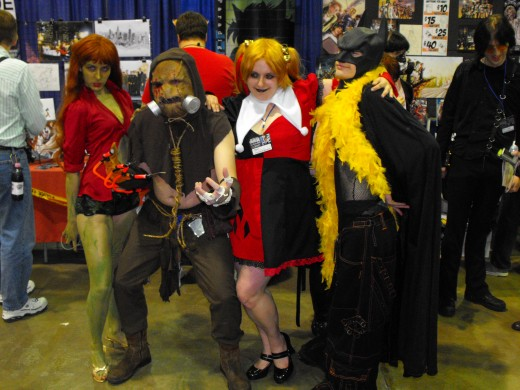 Ivy, Scarecrow, Harley Quinn, and party patman