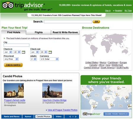 Home Page of TripAdvisor Hotel/Travel Reviews