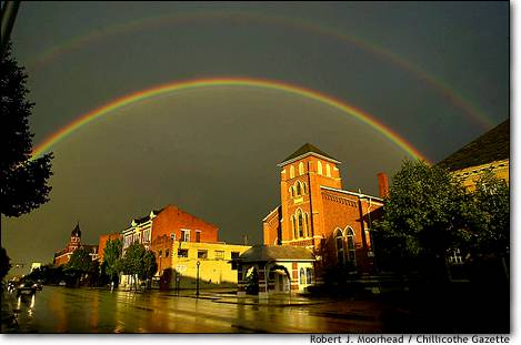 14. Rainbow times two  An afternoon storm brought a double rainbow over downtown Chillicothe, Ohio.