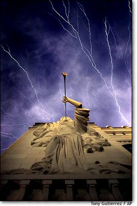 15. Fury from above  Lightning ripples over the Bass Performance Hall in Fort Worth, Texas.