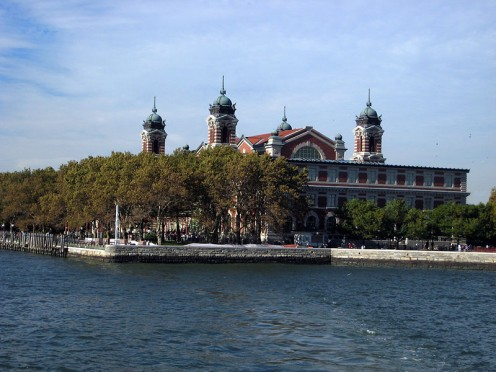 Ellis Island. Note the absence of the big lady with a torch. Image courtesy Wikimedia Commons.