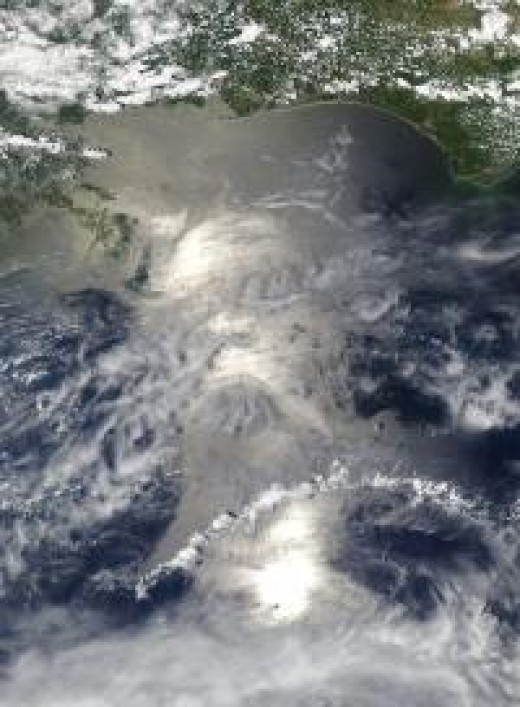 Sunglint on gulf coast oil spill