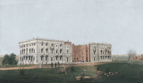 By George Munger, 1814 (1781 - 1825): Ruins of the US Capitol after British burning; fire damage to US Senate and House; damaged colonnade in the House shored up with firewood; shell of the rotunda with the facade and roof missing.