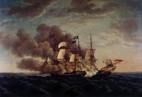 USS Constitution and HMS Guerriere, by Michel Felice Corne(1752-1845).