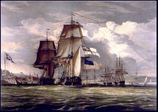 Painting 1830, by Schetky King & Capt John Christian (1778-1874): HMS Shannon leading captured USS Chesapeake into Halifax Harbour, Nova Scotia in June, 1813.