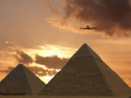 The Pyramids of Cheops and Chephren in Giza, Cairo, Egypt.