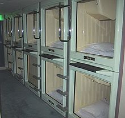 In capsule hotels, the guest has only enough room to sit up.