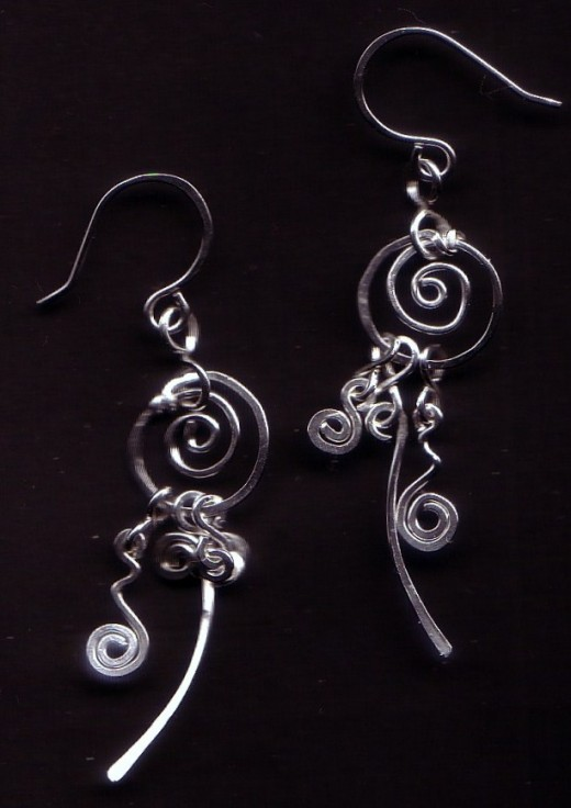 """Dangle Me Silverishly"" Earrings crafted with Sterling Silver Wire."