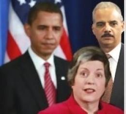 President Obama, Attorney General Eric Holder, & Secretary of Homeland Security Janet Napolitano