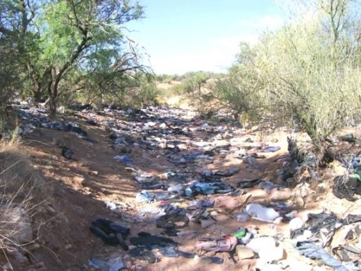 The trash left behind by people illegally crossing our border.