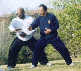 Here is agood example of the horse stance. Her Master Zhang Xuexin works with Sifu Herb Parran.