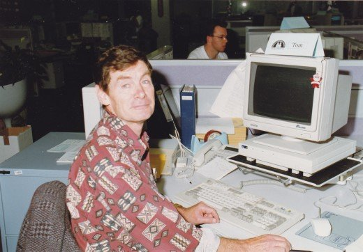The writer at work in 1992.  Swan Song for a Fisherman was written eleven years earlier.  It is based on a true story.
