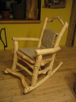 Wooden rocking chair.