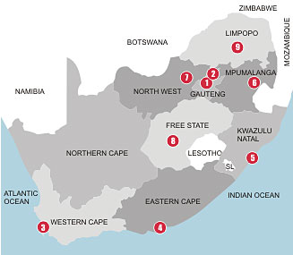 South African World Cup 2010 map