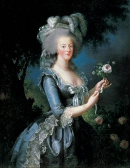 """Portrait of the Queen, Marie Antionette at twenty-four, by artist Madame Vigee-Lebrun. """"Marie Antionette Holding A Rose""""."""